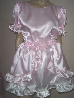 """Adult Baby Sissy Pink White Satin Dress 54"""" Pretty Double Layer Frilly Hem"""