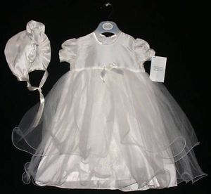 Baby Girls Clothes Ivory Christening Dress Gown Satin Bonnet 0 6 mths New