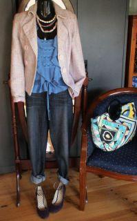 Ladies Vintage 60s Style Baby Pink Lilac Boucle Coat Jacket Blazer s 10
