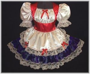 Custom Fit Satin Holiday Swiss Adult Baby Sissy Dress Leanne