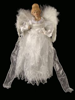 """14"""" Winter Solace Warm White Lighted Porcelain Angel Christmas Tree Topper"""