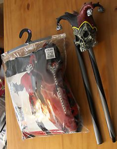 XL 44 46 Evil Jester Men California Costume Men with Walking Stick Staff