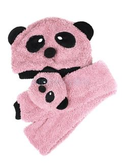 Cute Winter Cartoon Panda Pattern Warm Hat Scarf Set for Baby Toddler Unisex