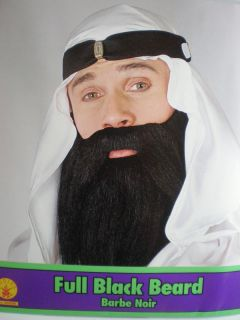 Full Black Beard Mustache Adult Rubie's 2045BK Saudi Arab Biker Pirate Costume