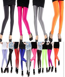 Polyester Spandex Neon Shiny Tights Women's Pants Leggings 18 Colors Fits s L