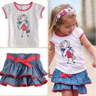 2pcs Kids Girls T Shirt Dress Set Cute Girl Outfits Tutu Costume
