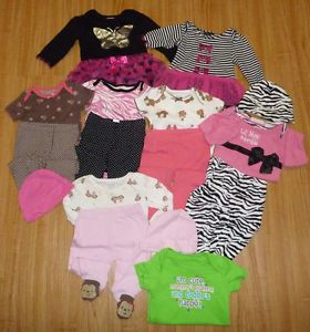Huge Baby Girls Clothing Lot Sz 3 6 Months 16 Pieces $9 99 Carters Baby Gear