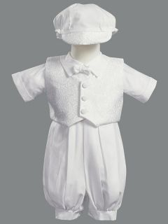 Allen Boys Christening Baptism Dedication Cotton Vest Suit Outfit Set 0M 18M