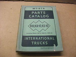 International Truck K 10 KR 10 KS 10 incl KB KBR KBS 10 Parts Catalog MT 57A