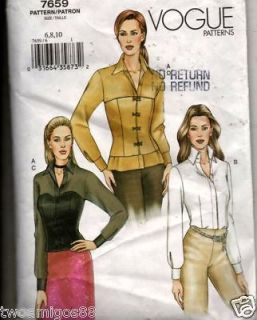 Vogue 7659 Womens Sewing Pattern Blouse Corset Sz 6 10
