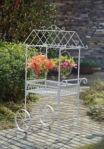 Two Tiered Wheels Garden Flower Cart Plant Rack Flower Storage Stand Porch Patio