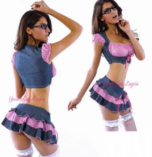 Sexy Country Girl Costume Daisy Duke School Girl Denim Skirt Gingham Top Naughty