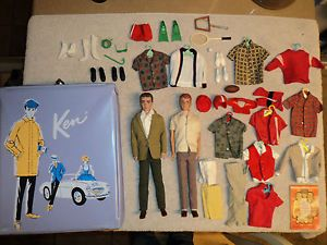 Big Lot of Ken Allen Barbie Dolls Case Clothes Accessories 1950s 1960s Vintage