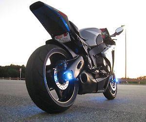 2 Blue LED Motorcycle Wheel Pod Light Bespoke Glow Accent Stunt Bike Yamaha R6