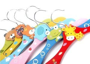 4 x Cartoon Baby Children Kids Nursery Room Wooden Coat Clothes Hooks Hangers