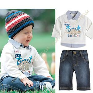 Boy Kids Baby 1 6Y 2pcs Cartoon Top Jacket Jeans Outfit Pant Set Clothing FT55