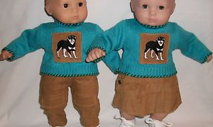 """American Girl Bitty Baby 15"""" Doll Clothes Twins Matching Outfits Boy New Dog"""