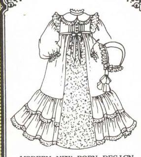 "18 19""Modern New Born Baby Doll Christening Dress Gown Slip Bonnet Pattern"
