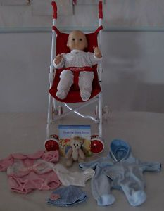 American Girl Bitty Baby Lot Doll Stroller Clothes Outfit Sleeper Bear Book
