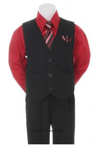 New Baby Toddler Boys Red Black Vest Suit Outfit Easter Christmas Wedding 4 PC