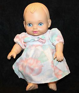 "Vtg 1990 Water Babies Lauer Toy Baby Doll 12"" Clothes Dress Realistic Feel"