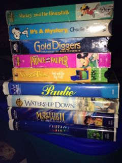 Lot of 9 Childrens VHS Snoopy Veggie Tales Little Mermaid Fantasia Disney