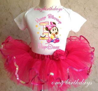 Baby Minnie Mouse Birthday Girl 1st Shirt Pink Tutu Set Outfit 6 9 12 18 Months