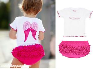 2pcs Infant Newborn Baby Girl Top Ruffle Pants Shorts Set Clothes Outfit Angel
