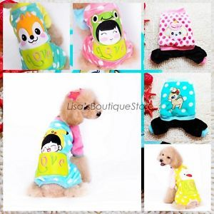 Flanne Costume Pup Pet Clothes Love Cartoons Outfit Cat Dog Clothes Jumpsuit