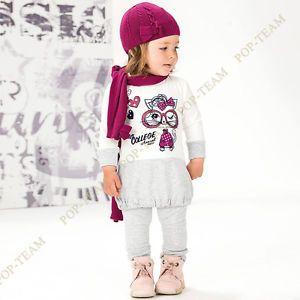 Baby Girls Kids Long Sleeve 1 6Y 2pcs Cat Sport Shirt Pants Cute Clothing FT42