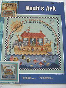 Stitch World Noah's Ark Religious Baby Nursery Cross Stitch Pattern Book Leaflet