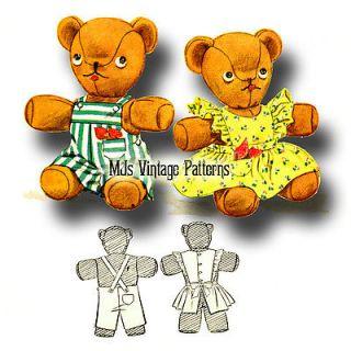 Vintage Stuffed Teddy Bear Clothes Pattern Boy Overalls Girl Dress