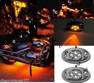 2 Orange Amber LED Chrome Modules Motorcycle Chopper Frame Neon Glow Lights Pods