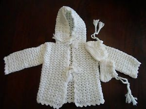 Vtg Baby Hand Knit Hooded Jacket Coat Sweater Coat Christening Crochet Cardigan