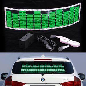 Green Car Music Rhythm LED Flash Light Sticker Sound Activated Equalizer New X1