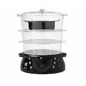 Biggest Loser 3 Tier 12 4 Qt Steamer Rice Cooker Black