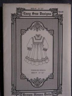 "146 Antique Modern Doll Dress 21"" 22"" Brown House Pattern 87 Toddler"