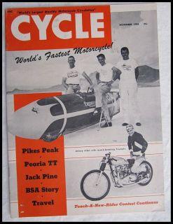 1955 Motorcycle Magazine Book Triumph Bonneville Salt Flats Racing Vincent BSA