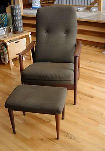 danish modern westnofa reclining lounge chair ottoman designed by
