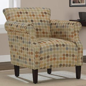 Multi Color Modern Retro Style Dot Circle Fabric Accent Chair New