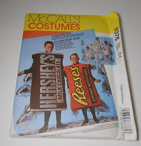 McCall's Kisses Hershey Bar Reeses Candy Halloween Costume Sewing Pattern Child