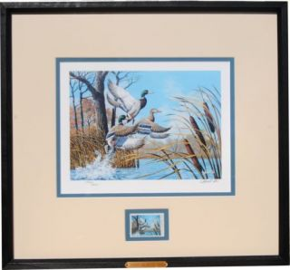 1992 Ducks Unlimited Stamp Print by Harold Roe Signed and Numbered GB 10