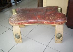 Antique Leather Wood Camel Saddle Stool Bench Seat Chair RARE Decorative Art