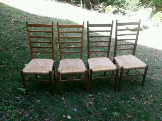 4 Gio Ponti Style Superleggerea Ladder Back Mid Century Italian Chairs