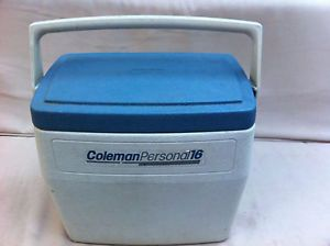 Vintage Coleman Personal 16 Qt Blue Cooler Ice Chest Locking Lid Cup Holders