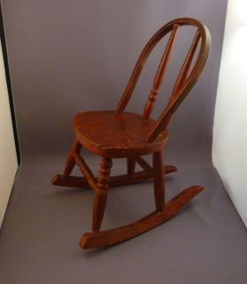 "Antique Doll Salesman Sample Wooden Rocking Chair 12"" 1930'S"