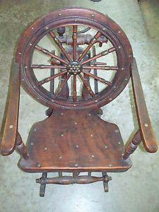 Antique Spinning Wheel Rocking Chair 19th Century