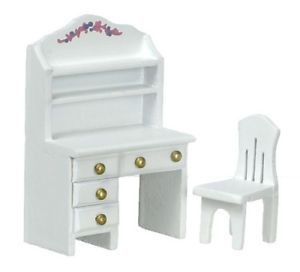 Dollhouse Miniature White Desk with Chair 1 24 Scale