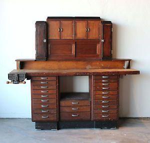 Mid Century Vintage Antique Industrial Watchmakers Jewelers Desk Workbench