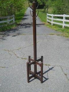Unusual Mission Oak Coat Rack Cane Umbrella Holder Virginia